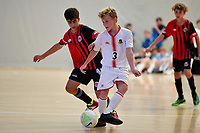 Liam West of Hamilton Boys' High School during the Futsal NZ Secondary Schools Junior Boys Final between Hamilton Boys High School and Selwyn College at ASB Sports Centre, Wellington on 26 March 2021.<br /> Copyright photo: Masanori Udagawa /  www.photosport.nz
