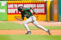 Travious Relaford (2) of the Augusta GreenJackets takes off for second base against the Greensboro Grasshoppers at NewBridge Bank Park on August 11, 2013 in Greensboro, North Carolina.  The GreenJackets defeated the Grasshoppers 6-5 in game one of a double-header.  (Brian Westerholt/Four Seam Images)