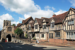 Great Britain, England, Warwickshire, Warwick: The Lord Leycester Hospital, established in 1571 by Robert Dudley, Earl of Leicester, as a retirement home for old soldiers disabled in the service of Queen Elizabeth 1st