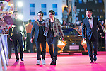 Singer Jay Chou (cross), Ken Chu (necktie) and his wife Audrey, and Wang Zhongjun walk the Red Carpet event at the World Celebrity Pro-Am 2016 Mission Hills China Golf Tournament on 20 October 2016, in Haikou, China. Photo by Victor Fraile / Power Sport Images