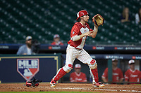 Kyle Lovelace (34) of the Houston Cougars on defense against the Vanderbilt Commodores during game nine of the 2018 Shriners Hospitals for Children College Classic at Minute Maid Park on March 3, 2018 in Houston, Texas. The Commodores defeated the Cougars 9-4. (Brian Westerholt/Four Seam Images)