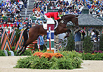 Rebecca Howard and Riddle Master of Canada compete in the final stadium jumping round of the FEI  World Eventing Championship at the Alltech World Equestrian Games in Lexington, Kentucky.