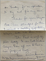 """BNPS.co.uk (01202 558833)<br /> Pic: OmegaAuctions/BNPS<br /> <br /> Pictured: In this letter Louise Harrison signs off by saying she's """"off to have a nice perfumed bath""""<br /> <br /> A collection of letters George Harrison's mother wrote to a Beatles fan over a five-year period has emerged for sale.<br /> <br /> Louise Harrison wrote to super fan Lorraine O'Malley from August 1964 until her death in 1970, sharing notable events in the band and Harrison's life like the band getting MBEs and her son's marriage to Pattie Boyd.<br /> <br /> Mrs O'Malley, who started writing as a star-struck 16-year-old, kept the letters safely stored in a safety deposit box for the next 50 years.<br /> <br /> She has now decided to put the 55 letters up for sale with Omega Auctions, based in Merseyside, with an estimate of £6,000."""