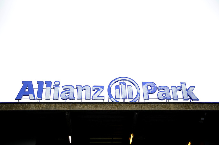 20130324 Copyright onEdition 2013©.Free for editorial use image, please credit: onEdition..Snow covered Allianz park logo during the Premiership Rugby match between Saracens and Harlequins at Allianz Park on Sunday 24th March 2013 (Photo by Rob Munro)..For press contacts contact: Sam Feasey at brandRapport on M: +44 (0)7717 757114 E: SFeasey@brand-rapport.com..If you require a higher resolution image or you have any other onEdition photographic enquiries, please contact onEdition on 0845 900 2 900 or email info@onEdition.com.This image is copyright onEdition 2013©..This image has been supplied by onEdition and must be credited onEdition. The author is asserting his full Moral rights in relation to the publication of this image. Rights for onward transmission of any image or file is not granted or implied. Changing or deleting Copyright information is illegal as specified in the Copyright, Design and Patents Act 1988. If you are in any way unsure of your right to publish this image please contact onEdition on 0845 900 2 900 or email info@onEdition.com