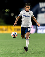 FOXBOROUGH, MA - AUGUST 18: Yamil Asad #11 of D.C. United brings the ball forward during a game between D.C. United and New England Revolution at Gillette Stadium on August 18, 2021 in Foxborough, Massachusetts.