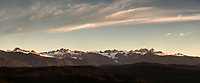 Sunset over Southern Alps and Franz Josef Glacier viewed from Okarito lookout Westland Tai Poutini National Park, West Coast, South Westland, UNESCO World Heritage Area, New Zealand, NZ