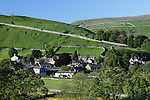Great Britain, England, North Yorkshire, Kettlewell: View over village in Yorkshire Dales National Park