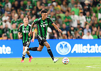 AUSTIN, TX - JUNE 19: Julio Cascante #18 of Austin FC races up the field with the ball during a game between San Jose Earthquakes and Austin FC at Q2 Stadium on June 19, 2021 in Austin, Texas.