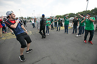 MEXICO CITY, MEXICO - June 11, 2017:  A USA fans heckles Mexico fans before the World Cup Qualifier match against Mexico at Azteca Stadium.