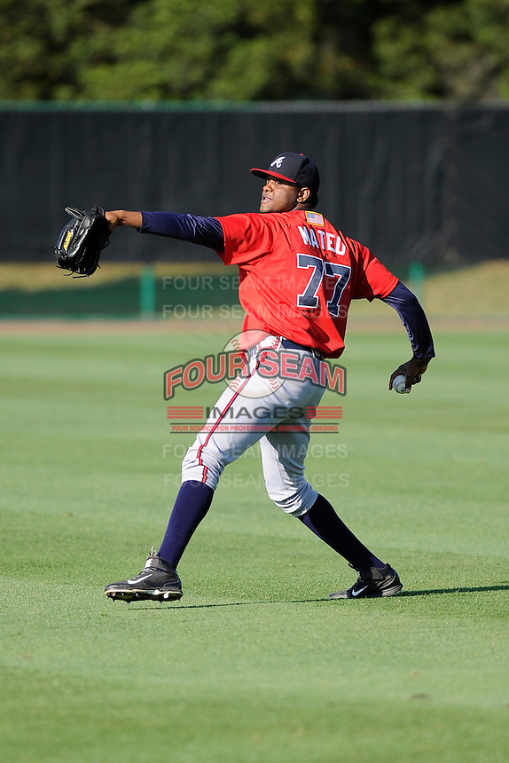 Pitcher Victor Mateo (77) of the Atlanta Braves farm system in a Minor League Spring Training workout on Monday, March 16, 2015, at the ESPN Wide World of Sports Complex in Lake Buena Vista, Florida. (Tom Priddy/Four Seam Images)