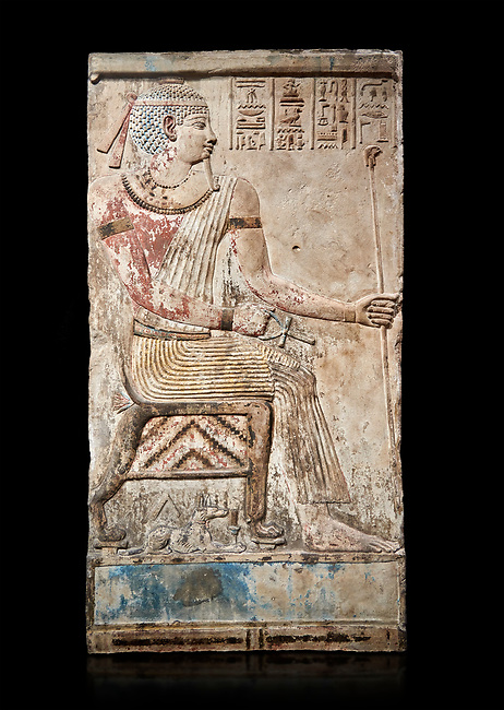 Ancient Egyptian stele of Piamon who drowned in the Nile and was deified like Osiris, Ptlomemaic Period (332-30 BC),  Egyptian Museum, Turin. black background. Old Fund cat 1556.