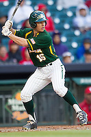 Baylor Bears outfielder Landon Brown #16 at bat against the Houston Cougars in the NCAA baseball game on March 2, 2013 at Minute Maid Park in Houston, Texas. Houston defeated Baylor 15-4. (Andrew Woolley/Four Seam Images).