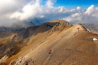 Walkers at the Schilthorn Summit, Swiss Alps, Switzerland.