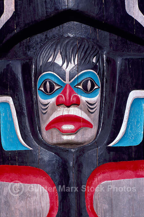 Haida Gwaii (Queen Charlotte Islands), Northern BC, British Columbia, Canada - Close Up Detail of Totem Pole at Haida Heritage Centre at Kaay Llnagaay, Skidegate, Graham Island