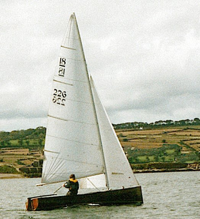 The classic National 18 Fingal 226 under sail - the boat is to undergo an upgrade of equipment