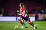 Filipe Luis (L) of Atletico de Madrid fights for the ball with Aleksey Miranchuk of FC Lokomotiv Moscow during the UEFA Europa League 2017-18 Round of 16 (1st leg) match between Atletico de Madrid and FC Lokomotiv Moscow at Wanda Metropolitano  on March 08 2018 in Madrid, Spain. Photo by Diego Souto / Power Sport Images