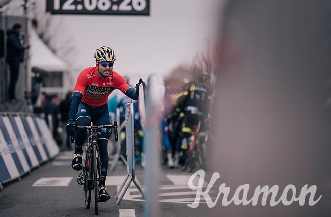 Sonny Colbrelli (ITA/Bahrain-Merida) preferring a short-cut to the start line<br /> <br /> 61th E3 Harelbeke (1.UWT)<br /> Harelbeke - Harelbeke (206km)