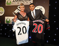 Pictured: Jefferson Montero with sponsor Wednesday 20 May 2015<br />