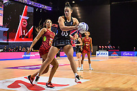 24th September 2021: Christchurch, New Zealand;  Maia Wilson of the Silver Ferns with the ball from Geva Mentor of England during the third Cadbury Netball Series/Taini Jamison Trophy, New Zealand Silver Ferns versus England Roses, Christchurch Arena, Christchurch, New Zealand