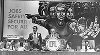 The mural behind the podium in the Sheraton Centre ballroom where 1;456 Ontario Federation of Labor delegates are meeting this week is a stark sign of deep rooted fears trade unionists share in the face of the faltering economy.