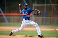 GCL Mets relief pitcher Miguel Ramirez (29) delivers a pitch during a game against the GCL Marlins on August 3, 2018 at St. Lucie Sports Complex in Port St. Lucie, Florida.  GCL Mets defeated GCL Marlins 3-2.  (Mike Janes/Four Seam Images)