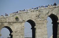 SYRIA, Aleppo, bridge to citadel in the Ancient City of Aleppo, a UNESCO World Heritage Site since 1986 / SYRIEN Aleppo, Bruecke zur alten Zitadelle in der Altstadt, die zum UNESCO Welterbe zaehlt