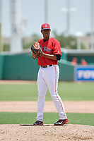 GCL Red Sox relief pitcher Juan Morillo (38) gets ready to deliver a pitch during a game against the GCL Orioles on August 9, 2018 at JetBlue Park in Fort Myers, Florida.  GCL Red Sox defeated GCL Orioles 10-4.  (Mike Janes/Four Seam Images)
