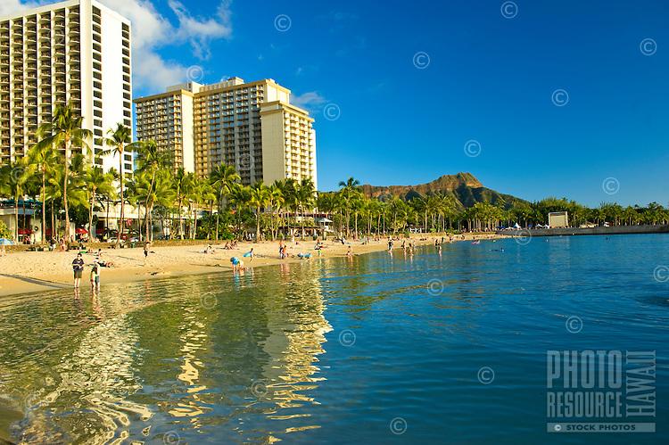 Tranquil wading pool fronting Waikiki Beach in Honolulu, Hawaii