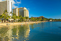Tranquil wading pool fronting Waikiki Beach in Honolulu, Hawaii