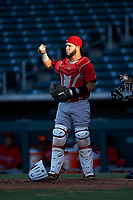 AZL Angels catcher Edwin Bisay (5) during an Arizona League game against the AZL Cubs 1 on June 24, 2019 at Sloan Park in Mesa, Arizona. AZL Cubs 1 defeated the AZL Angels 12-0. (Zachary Lucy / Four Seam Images)