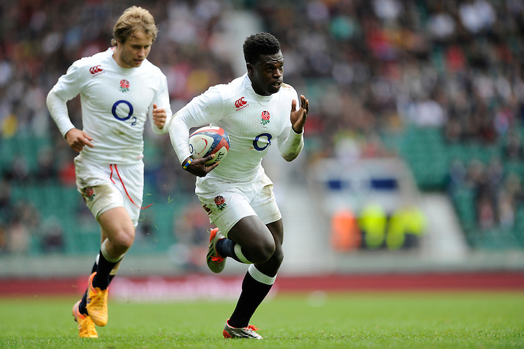 Christian Wade of England scores his second try during the match between England and Barbarians at Twickenham Stadium on Sunday 31st May 2015 (Photo by Rob Munro)