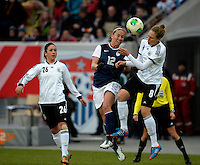 Offenbach, Germany, Friday, April 05 2013: Womans, Germany vs. USA, in the Stadium in Offenbach,  Nadine Kessler (GER), Lauren Cheney (USA), Kim Kulig (GER), ..