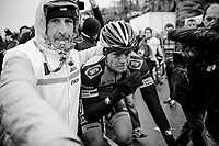 surprise race winner Gerald Ciolek's (DEU/MTN-Qubeka) being escorted to the podium<br /> <br /> Milan - San Remo 2013: the iced edition.<br /> <br /> ©kramon