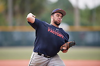 Kyle Terrell (70) of Gainesville, Virginia during the Baseball Factory Pirate City Christmas Camp & Tournament on December 29, 2018 at Pirate City in Bradenton, Florida. (Mike Janes/Four Seam Images)