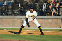 Daniel Rockett (9) of the Sussex County Miners takes his lead off of first base against the New Jersey Jackals at Skylands Stadium on July 29, 2017 in Augusta, New Jersey.  The Miners defeated the Jackals 7-0.  (Brian Westerholt/Four Seam Images)