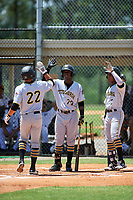 GCL Pirates right fielder Mason Martin (22) is congratulated by Rodolfo Castro (70) and Eddy Vizcaino (7) after hitting a home run in the top of the second inning during a game against the GCL Tigers West on July 17, 2017 at TigerTown in Lakeland, Florida.  GCL Tigers West defeated the GCL Pirates 7-4.  (Mike Janes/Four Seam Images)