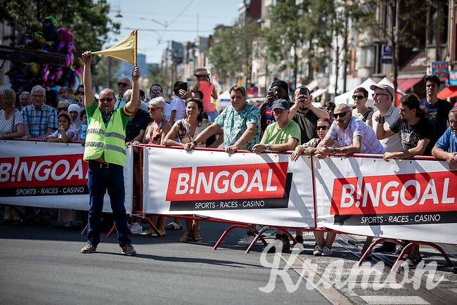 safety marchal. <br /> <br /> 94th Schaal Sels 2019<br /> One Day Race: Merksem  >  Merksem  (UCI 1.1)<br /> ©kramon