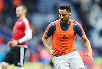 Neil Taylor of Swansea City during the warm up before the Barclays Premier League match between Leicester City and Swansea City played at The King Power Stadium, Leicester on April 24th 2016