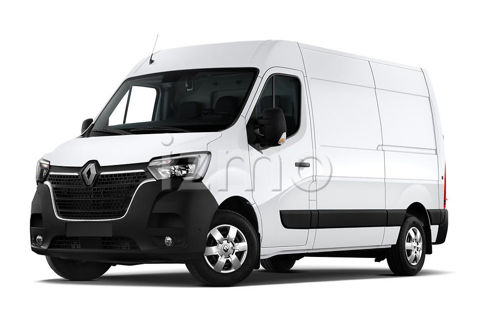 Stock pictures of low aggressive front three quarter view of a 2020 Renault Master Confort 4 Door Cargo Van