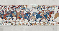 Bayeux Tapestry scene 55:  Duke William raises his visor to show that a rumour he was killed is un-true. BYX55