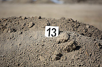 FAO JANET TOMLINSON, DAILY MAIL PICTURE DESK<br />Pictured: An evidence tag on a pile of soil in a field in Kos, Greece. Sunday 02 October 2016<br />Re: Police teams led by South Yorkshire Police, searching for missing toddler Ben Needham on the Greek island of Kos have moved to a new area in the field they are searching.<br />Ben, from Sheffield, was 21 months old when he disappeared on 24 July 1991 during a family holiday.<br />Digging has begun at a new site after a fresh line of inquiry suggested he could have been crushed by a digger.