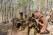 Machinery at the Redstone Granite quarry in Conway, New Hampshire. This abandoned quarry opened in the late eighteen hundreds and closed in the nineteen forties. The green and pink granite harvested from this quarry can still be found in buildings and monuments throughout New England.