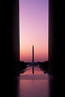AJ4226, Washington Monument, Washington, DC, District of Columbia, capital city, morning, The Washington Monument stands at one end of the Mall from Lincoln Memorial at sunrise in the nations capital Washington, D.C.