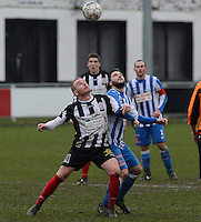 Club Roeselare - WS Oudenburg : Glenn Vanoplynus (links) in duel met Davy Hallemeesch (r)<br /> Foto VDB / Bart Vandenbroucke