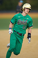 Brooks Coetzee (42) of the Notre Dame Fighting Irish hustles around third base during the game against the Wake Forest Demon Deacons at David F. Couch Ballpark on March 10, 2019 in  Winston-Salem, North Carolina. The Fighting Irish defeated the Demon Deacons 8-7 in 10 innings in game two of a double-header. (Brian Westerholt/Four Seam Images)