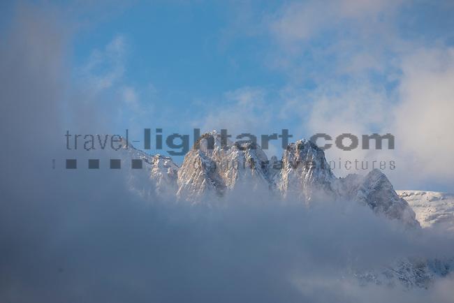Clouds around Kreuzberge, Swiss-mountains seen from Haag, St. Gallen, SG, Schweiz, Switzerland.<br /> <br /> Foto: Paul Trummer