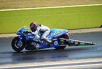 Sept. 22, 2012; Ennis, TX, USA: NHRA pro stock motorcycle rider Shawn Gann during qualifying for the Fall Nationals at the Texas Motorplex. Mandatory Credit: Mark J. Rebilas-