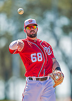 28 February 2016: Washington Nationals infielder Jason Martinson warms up prior to an inter-squad pre-season Spring Training game at Space Coast Stadium in Viera, Florida. Mandatory Credit: Ed Wolfstein Photo *** RAW (NEF) Image File Available ***