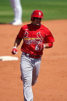 St. Louis Cardinals Max Moroff (67) rounds the bases after hitting a home run during a Major League Spring Training game against the New York Mets on March 19, 2021 at Clover Park in St. Lucie, Florida.  (Mike Janes/Four Seam Images)
