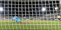 Orlando, FL - Saturday Jan. 21, 2017: São Paulo goalkeeper Sidão (12) is wrong-footed and watches the penalty shot go into the goal during the penalty kick shootout of the Florida Cup Championship match between São Paulo and Corinthians at Bright House Networks Stadium. The game ended 0-0 in regulation with São Paulo defeating Corinthians 4-3 on penalty kicks.